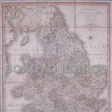 Mapas contemporáneos: A NEW MAP OF ENGLAND & WALES, COMPREHENDING THE WHOLE OF TURNPIKE ROADS, WITH THE GREAT RIVERS..1818. Lote 40877238