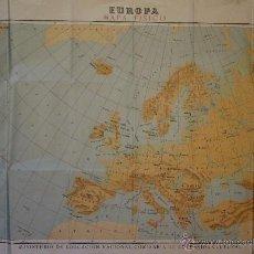 Mapas contemporáneos: MAPA FISICO DE EUROPA - MAPA ESCOLAR DEL MINISTERIO DE EDUCACION NACIONAL. Lote 41288645
