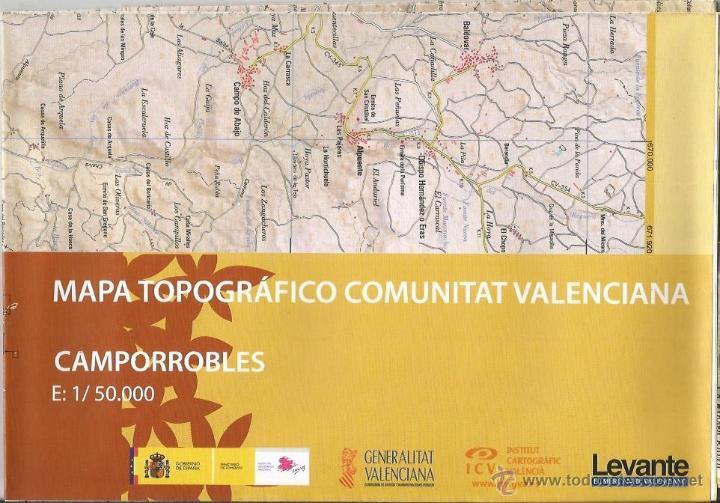 +-+ O33 - MAPA TOPOGRAFICO COMUNITAT VALENCIANA - E: 1 / 50.000 - CAMPORROBLES (Coleccionismo - Mapas - Mapas actuales (desde siglo XIX))