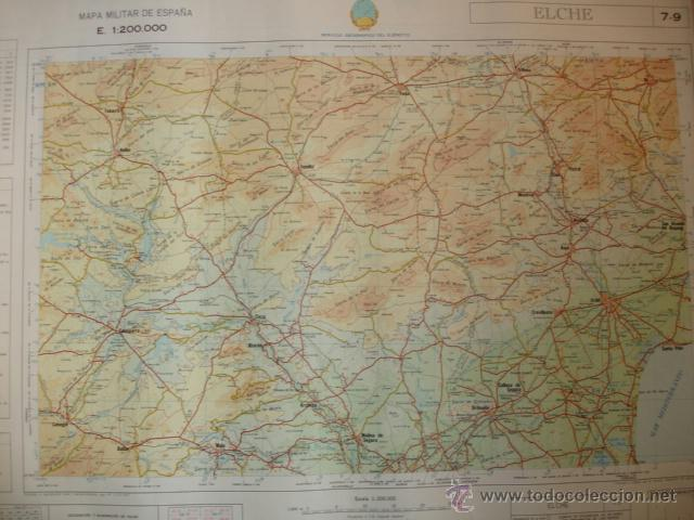 ELCHE.MAPA MILITAR DE ESPAÑA.1970.E1:200000.58X78.SERVICIO GEOGRAFICO DEL EJERCITO (Coleccionismo - Mapas - Mapas actuales (desde siglo XIX))