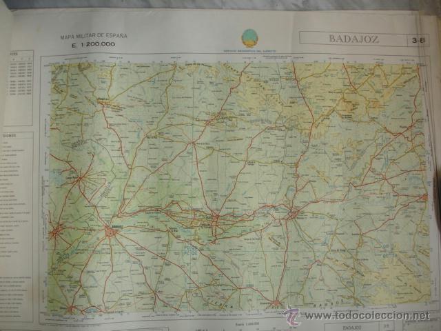 BADAJOZ .MAPA MILITAR DE ESPAÑA.1970.E1:200000.58X78.SERVICIO GEOGRAFICO DEL EJERCITO (Coleccionismo - Mapas - Mapas actuales (desde siglo XIX))