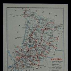 Mapas contemporáneos: MAPA DE LA PROVINCIA DE LÉRIDA. CON LA SUPERFICIE, POBLACIÓN... EN COLOR. AÑO 1930. Lote 42531261