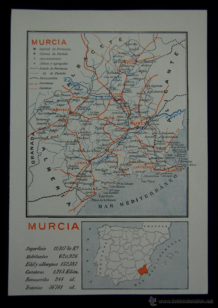 MAPA DE LA PROVINCIA DE MURCIA. CON LA SUPERFICIE, POBLACIÓN... EN COLOR. AÑO 1930 (Coleccionismo - Mapas - Mapas actuales (desde siglo XIX))