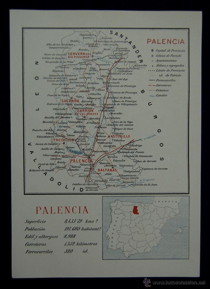 MAPA DE LA PROVINCIA DE PALENCIA. CON LA SUPERFICIE, POBLACIÓN... EN COLOR. AÑO 1930 (Coleccionismo - Mapas - Mapas actuales (desde siglo XIX))