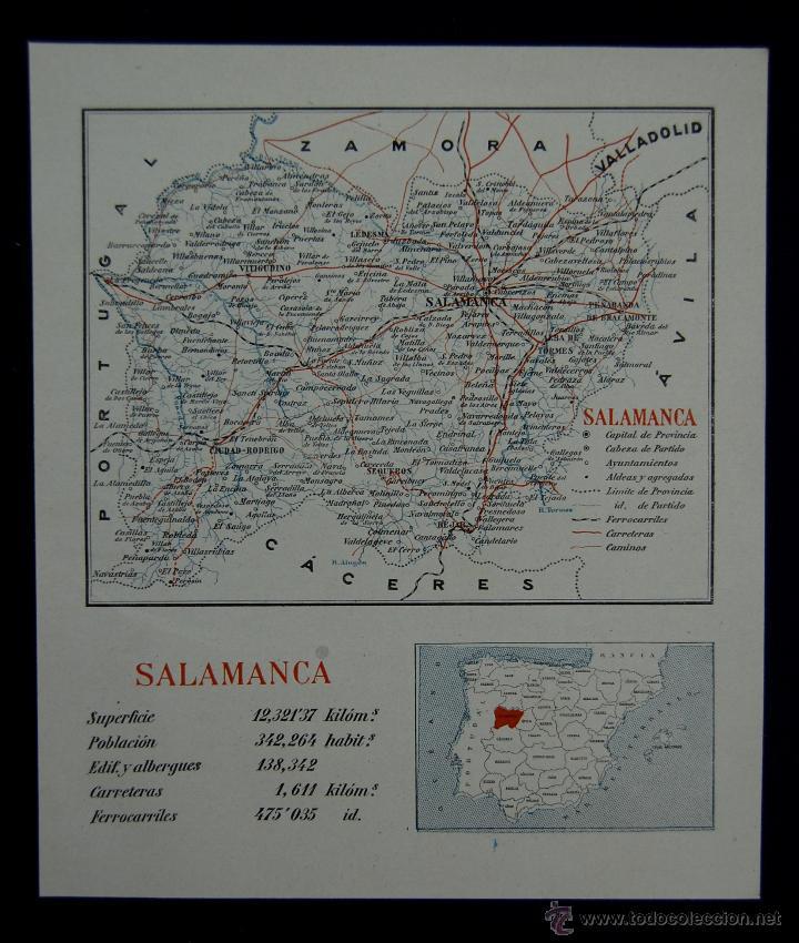 MAPA DE LA PROVINCIA DE SALAMANCA. CON LA SUPERFICIE, POBLACIÓN... EN COLOR. AÑO 1930 (Coleccionismo - Mapas - Mapas actuales (desde siglo XIX))