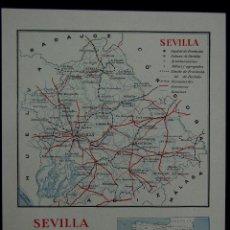 Mapas contemporáneos: MAPA DE LA PROVINCIA DE SEVILLA. CON LA SUPERFICIE, POBLACIÓN... EN COLOR. AÑO 1930. Lote 42531485