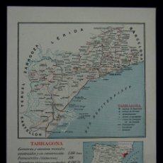 Mapas contemporáneos: MAPA DE LA PROVINCIA DE TARRAGONA. CON LA SUPERFICIE, POBLACIÓN... EN COLOR. AÑO 1930. Lote 42531516