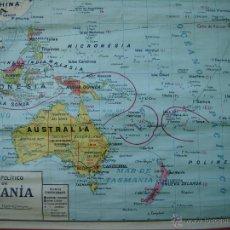 Mapas contemporáneos: MAPA DE ESCUELA POLITICO DE OCEANIA 1960 DIBUJADO POR COLL 1960. Lote 42978012