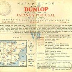 Mapas contemporáneos: MAPA PLEGADO DUNLOP CARRETERAS ESPAÑA Y PORTUGAL. Lote 43485057