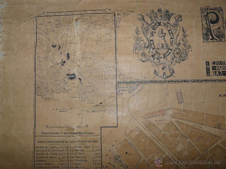 Mapas contemporáneos: PLANO DE CARTAGENA SUS ENSANCHES Y MEDIDAS PRINCIPIOS SIGLO XX - 1000-087 - Foto 3 - 61551835