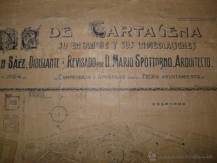 Mapas contemporáneos: PLANO DE CARTAGENA SUS ENSANCHES Y MEDIDAS PRINCIPIOS SIGLO XX - 1000-087 - Foto 4 - 61551835