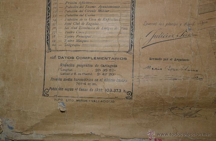 Mapas contemporáneos: PLANO DE CARTAGENA SUS ENSANCHES Y MEDIDAS PRINCIPIOS SIGLO XX - 1000-087 - Foto 5 - 61551835