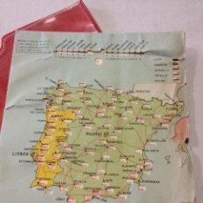 Mapas contemporáneos: ANTIGUO MAPA DE ESPAÑA PARA CALCULAR DISTANCIAS.PUBLICIDAD JUNTAS SPIRO-METALICAS MORALI, BARCELONA. Lote 44070733