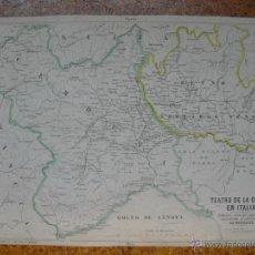 Mapas contemporáneos: 1858 LITOGRAFIA EN COLOR DEL TEATRO DE LA GUERRA EN ITALIA G. PFEIFFER ÚNICA. Lote 44496995