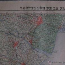 Mapas contemporáneos: MAPA CASTELLON DE LA PLANA. AÑOS 60. GRAFICOS NARANJOS, LIMITE PROVINCIA, ENERGIA ELECTRICA. Lote 44837610