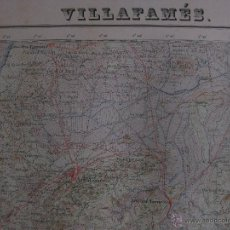 Mapas contemporáneos: MAPA VILLAFAMES, CASTELLON . AÑOS 60. GRAFICOS NARANJOS, LIMITE PROVINCIA, ENERGIA ELECTRICA. Lote 44838170