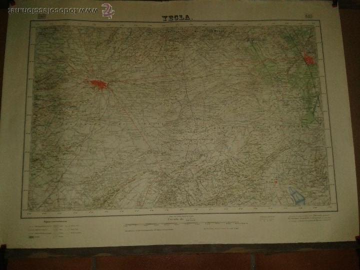 ANTIGUO MAPA FISICO DE YECLA (Coleccionismo - Mapas - Mapas actuales (desde siglo XIX))