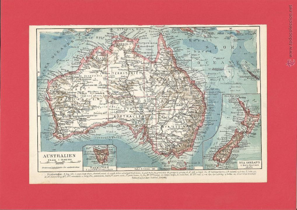 mapa de australia del año 1910 - precioso - ide - Comprar Mapas ...
