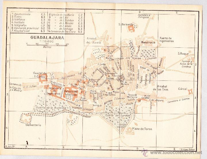 MAPA DE GUADALAJARA CON SELLO BIBLIOTECA ESCUELA SUPERIOR DE GUERRA AÑO 1924. (Coleccionismo - Mapas - Mapas actuales (desde siglo XIX))