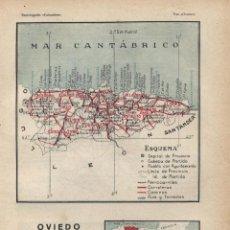 Mapas contemporáneos: MAPA: OVIEDO ( REVERSO PALENCIA )- 1925. Lote 46597307