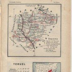 Mapas contemporáneos: MAPA: TERUEL ( REVERSO TOLEDO ) - 1925. Lote 46610249