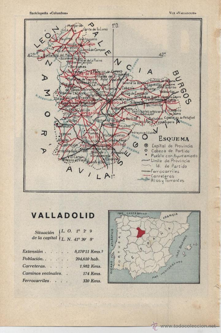 MAPA: VALLADOLID ( REVERSO FACHADA DE LA IGLESIA DE SAN PABLO ) - 1925 (Coleccionismo - Mapas - Mapas actuales (desde siglo XIX))