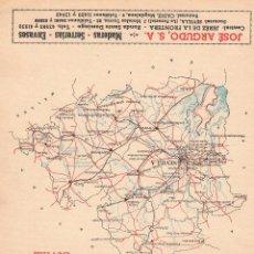 Mapas contemporáneos: ANTIGUO MAPA PROVINCIA DE SEVILLA PUBLICIDAD BRANDY EMINENCIA, JOSÉ ARGUDO, ROTINI, MOTOMAR. Lote 46775737