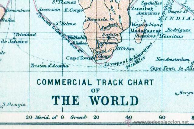Mapas contemporáneos: THE WORLD - MAP edited in the 19th century BY J.Bartholomew, Edin.r - Foto 2 - 46931286