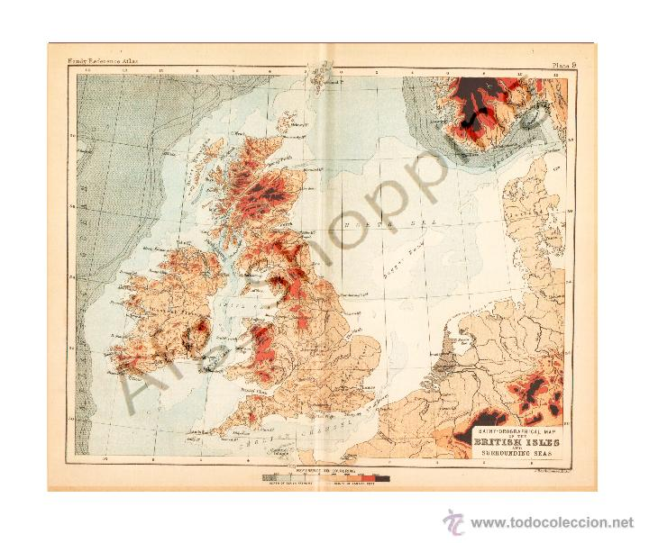 BRITISH ISLES AND SURROUNDING SEAS - MAP EDITED IN THE 19TH CENTURY BY J.BARTHOLOMEW, EDIN.R (Coleccionismo - Mapas - Mapas actuales (desde siglo XIX))