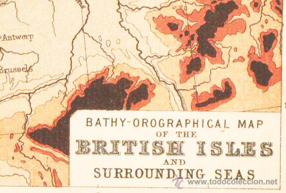 Mapas contemporáneos: BRITISH ISLES AND SURROUNDING SEAS - MAP edited in the 19th century BY J.Bartholomew, Edin.r - Foto 2 - 46931296