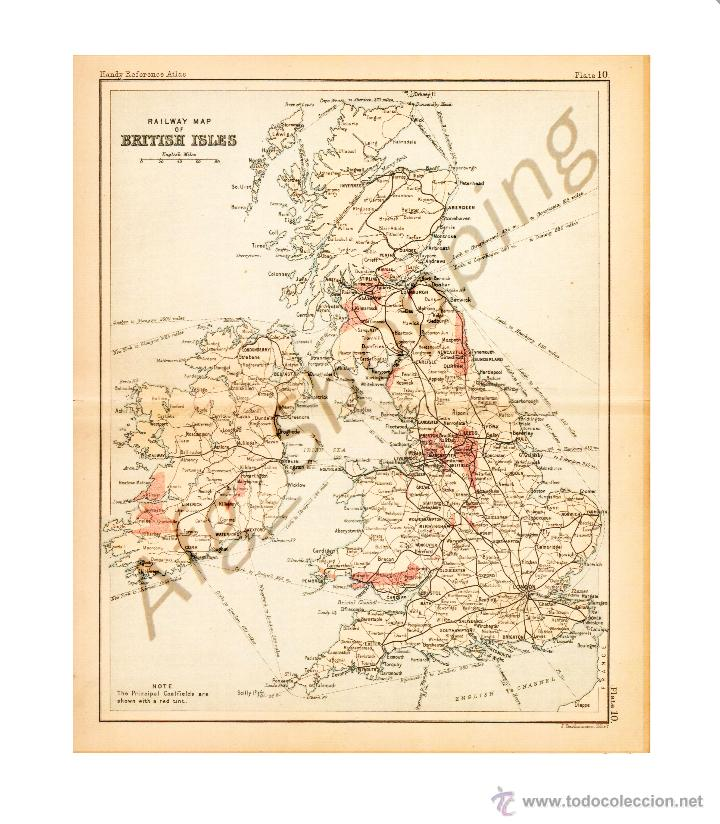 RAILWAY MAP OF BRITISH ISLES. - MAP EDITED IN THE 19TH CENTURY BY J.BARTHOLOMEW, EDIN.R (Coleccionismo - Mapas - Mapas actuales (desde siglo XIX))