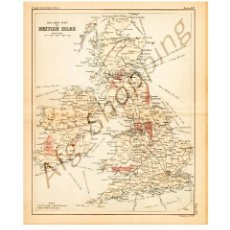 Mapas contemporáneos: RAILWAY MAP OF BRITISH ISLES. - MAP EDITED IN THE 19TH CENTURY BY J.BARTHOLOMEW, EDIN.R. Lote 46931304
