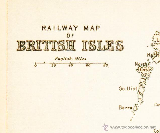 Mapas contemporáneos: RAILWAY MAP OF BRITISH ISLES. - MAP edited in the 19th century BY J.Bartholomew, Edin.r - Foto 2 - 46931304