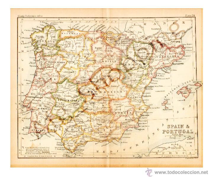 SPAIN & PORTUGAL - MAP EDITED IN THE 19TH CENTURY BY J.BARTHOLOMEW, EDIN.R (Coleccionismo - Mapas - Mapas actuales (desde siglo XIX))