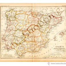 Mapas contemporáneos: SPAIN & PORTUGAL - MAP EDITED IN THE 19TH CENTURY BY J.BARTHOLOMEW, EDIN.R. Lote 46931413