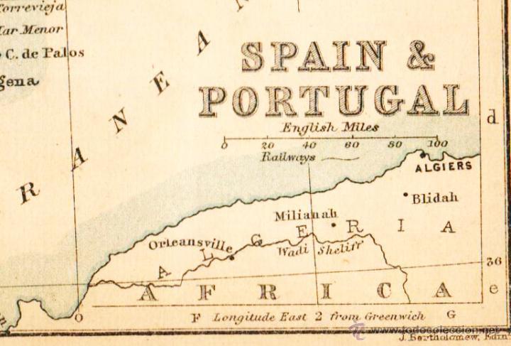 Mapas contemporáneos: SPAIN & PORTUGAL - MAP edited in the 19th century BY J.Bartholomew, Edin.r - Foto 2 - 46931413