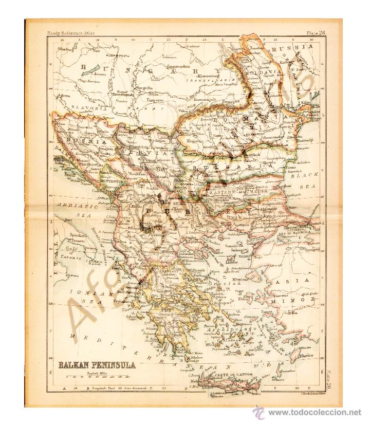 balkan peninsula - map edited in the 19th centu - Comprar Mapas ...