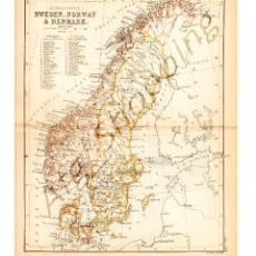 Mapas contemporáneos: SWEDEN, NORWAY & DENMARK - MAP EDITED IN THE 19TH CENTURY BY J.BARTHOLOMEW, EDIN.R. Lote 46931424