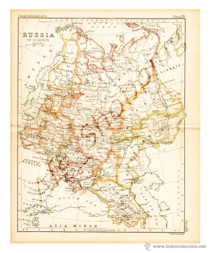 RUSSIA IN EUROPE - MAP EDITED IN THE 19TH CENTURY BY J.BARTHOLOMEW, EDIN.R (Coleccionismo - Mapas - Mapas actuales (desde siglo XIX))