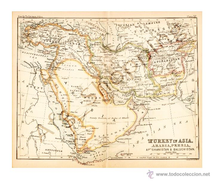 MAP. EDITED IN THE 19TH CENTURY BY J.BARTHOL - TURKEY IN ASIA, PERSIA, AFGHANISTAN, AND BALUCHISTAN (Coleccionismo - Mapas - Mapas actuales (desde siglo XIX))