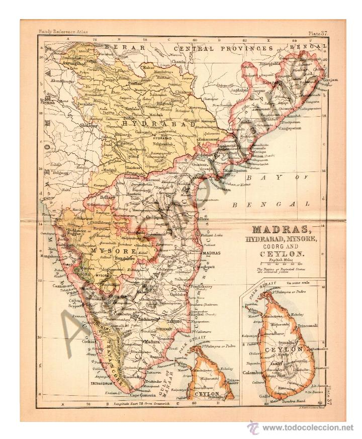 MADRAS, HYDRABAD, MYSORE, COORG AND CEYLON - MAP EDITED IN THE 19TH CENTURY BY J.BARTHOLOMEW, EDIN.R (Coleccionismo - Mapas - Mapas actuales (desde siglo XIX))