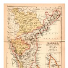 Mapas contemporáneos: MADRAS, HYDRABAD, MYSORE, COORG AND CEYLON - MAP EDITED IN THE 19TH CENTURY BY J.BARTHOLOMEW, EDIN.R. Lote 46931449