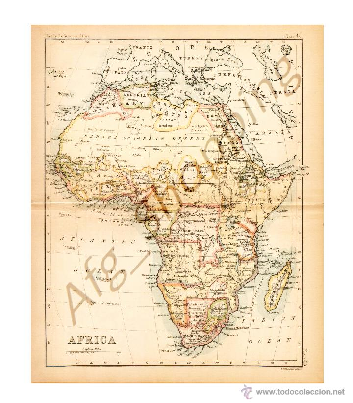 AFRICA - MAP EDITED IN THE 19TH CENTURY BY J.BARTHOLOMEW, EDIN.R (Coleccionismo - Mapas - Mapas actuales (desde siglo XIX))