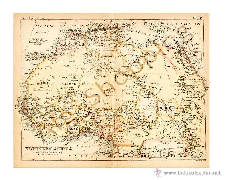 19th Century Africa Map.Northern Africa Map Edited In The 19th Centur Buy Contemporary