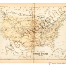 Mapas contemporáneos: RAILWAY MAP OF THE UNITED STATES - MAP EDITED IN THE 19TH CENTURY BY J.BARTHOLOMEW, EDIN.R. Lote 46931493