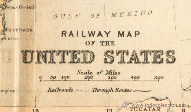 Mapas contemporáneos: RAILWAY MAP OF THE UNITED STATES - MAP edited in the 19th century BY J.Bartholomew, Edin.r - Foto 2 - 46931493