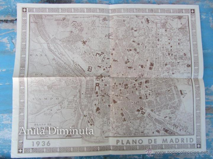 ANTIGUO PLANO DE MADRID - AÑO 1936 - ORIGINAL - 40 X 32 CM - (Coleccionismo - Mapas - Mapas actuales (desde siglo XIX))