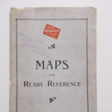 Mapas contemporáneos: MAPS FOR READY REFERENCE. POPULATION, AREA AND CAPITALS OF THE US, ALASKA, CUBA, PUERTO RICO, HAWAII. Lote 11125245