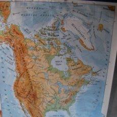 Mapas contemporáneos: ANTIGUO MAPA ESCOLAR - AMERICA DEL NORTE (MAPA FISICO) . Lote 47735866