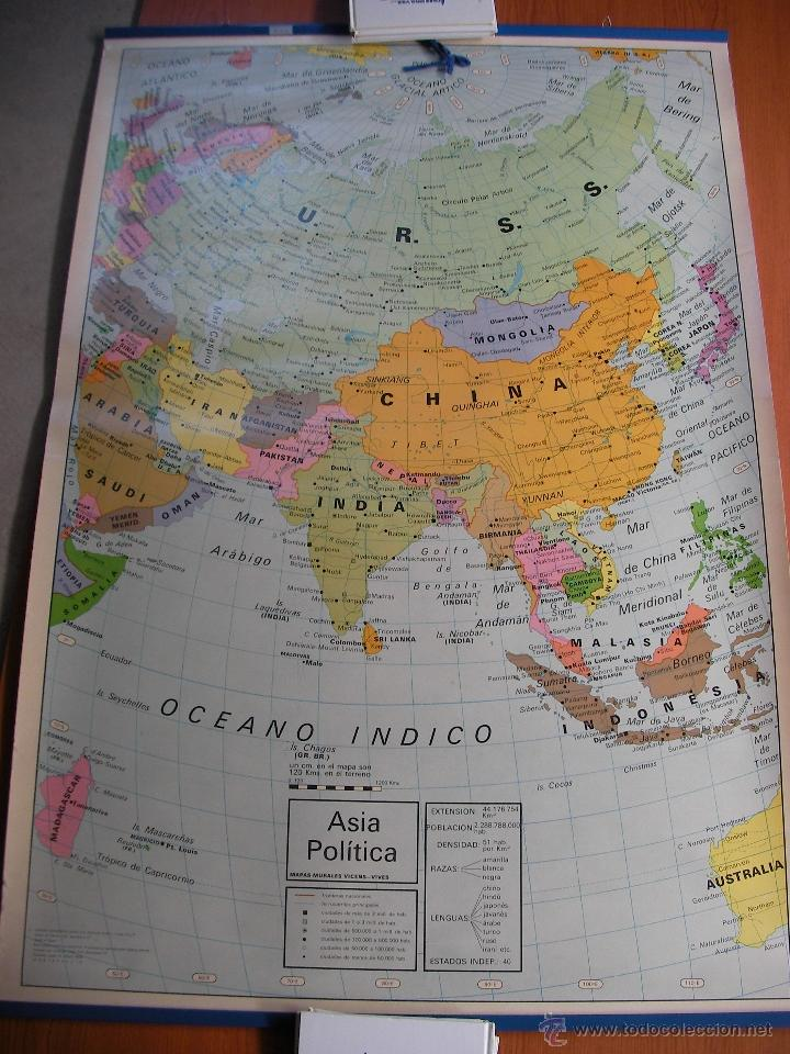 antiguo mapa escolar  asia fisico y politico  Comprar Mapas